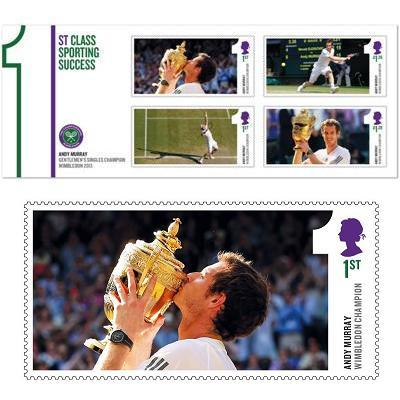 Special set of stamps produced by Royal Mail for the celebration of Andy Murray's Wimbledon victory <br> Photo: (с) royalmail.com